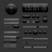 Dark Web UI Elements. Buttons, Switches, bars