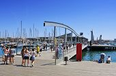 BARCELONA, SPAIN - AUGUST 16: Rambla de Mar and Port Vell on August 16, 2012 in Barcelona, Spain. Th