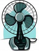 foto of heatwave  - modern table fan ventilator ready for work - JPG