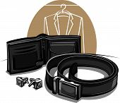 belt, wallet and cuff links