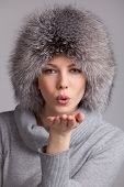 Beautiful Woman In A Fur Winter Hat