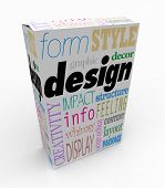 The word Design and associated terms and phrases on a product box or package, such as creativity, form, display, layout, inspiration, style, impact, content, information, decor and structure