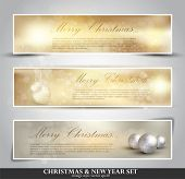 set of three seasonal bokeh banners with snowflakes in gold background (separately grouped). Winter