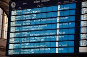 Train departures timetable at European railway station