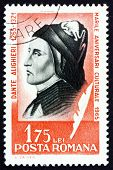 stock photo of alighieri  - a stamp printed in the Romania shows Dante Alighieri - JPG