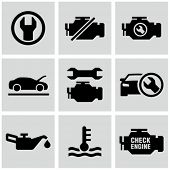 Engine, car dashboard icons set.