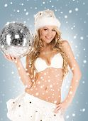 picture of sexy santa helper with disco ball