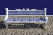 Traditional blue tiled bench in Portugal Europe poster