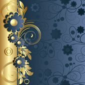 Dark Blue Background  With  Flowers