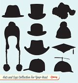 stock photo of bowler hat  - Group of silhouettes of hats as design elements - JPG
