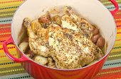 pic of dutch oven  - Roasted chicken with lemon and herbs - JPG