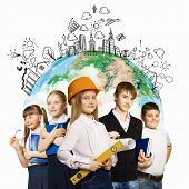 Group of pupils holding items. Education and travel concept