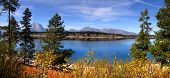 Panoramic landscape of Jackson lake and Grand Teton mountains