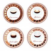 Four Type Of Coffee Drink In Retro Round Label