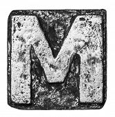 picture of letter m  - Metal alloy alphabet letter M - JPG