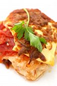 foto of lasagna  - Delicious vegetarian lasagna with parscley on top - JPG