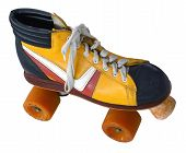 foto of roller-derby  - Isolation Of A Retro Vintage Four Wheel Roller Skate - JPG