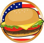 Hamburger and American Flag