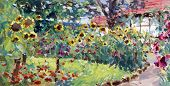stock photo of realism  - summer motif painting landscape in lower saxony  - JPG