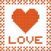 Love Heart Made Out Of Pixel Blocks