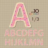 1-3 Set Of Doughnut Vector Alphabet A-n Editable