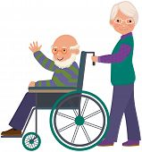 foto of grandpa  - An elderly woman with her husband in a wheelchair - JPG