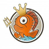 funny fish king cartoon