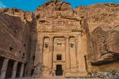 stock photo of petra jordan  - Urn Tomb in nabatean petra jordan middle east - JPG