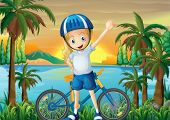 Illustration of a happy girl and her bike at the riverbank