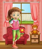 Illustration of a cute young girl inside the house