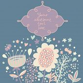 Stylish floral card with textbox in light colors. Flowers with butterflies in cartoon style in vecto