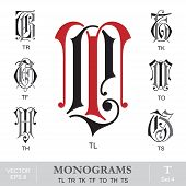 Vintage Monograms TL TR TK TF TO TH TS