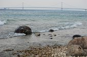 Rocky view of the Mackinac Bridge
