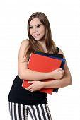 teen girl with school binders