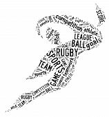 Rugby Football Pictogram With Black Wordings