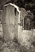 Old Wooden Grave Headstone