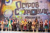 MOSCOW - DEC 15: Troupe of actors accept congratulations on stage at Big Concert Hall Izmailovo afte
