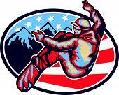 American Snowboarder Jumping Snowboard Retro