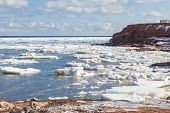 Ice breaking up along Cavendish Beach, Prince Edward Island, Canada.