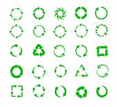 foto of refreshing  - green circle arrows of pictogram refresh reload rotation loop recycling signs - JPG