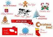 stock photo of merry chrismas  - New Year and Chrismas symbols set with holiday scripts - JPG