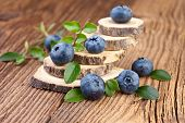 blueberry over old wooden background