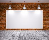 image of brick block  - Banner on stone wall with lamp - JPG