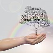 Concept or conceptual black tree contact word cloud tagcloud in man or woman hand on rainbow sky bac