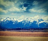 picture of bavarian alps  - Vintage retro hipster style travel image of Bavarian Alps countryside lake landscape - JPG