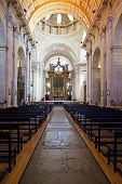 Lisbon, Portugal -  September 15, 2013: Nave and altar of the church of the Sao Vicente de Fora Mona
