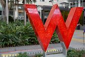 Big Red W Of The W Hotel Hollywood On Famous Hollywood Boulevard