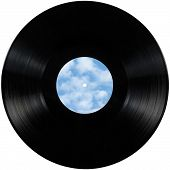 Black vinyl record lp album disc; isolated long play disk with blank empty label copy space sky