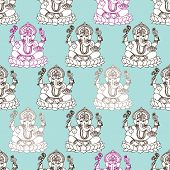picture of ganesh  - Seamless India Ganesh hindu god illustration modern background pattern in vector - JPG
