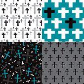 Seamless christian cross religious jesus illustration background pattern in vector